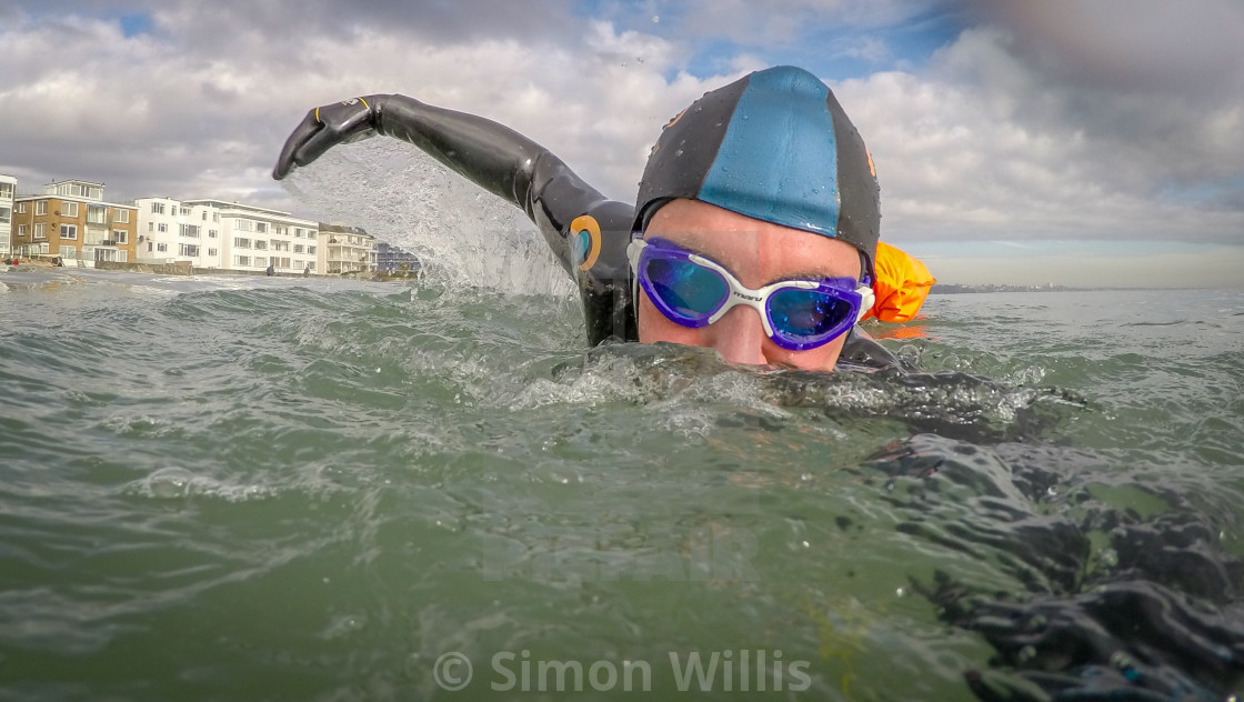 """swim wild scottish highlands sandbanks dorset"" stock image"