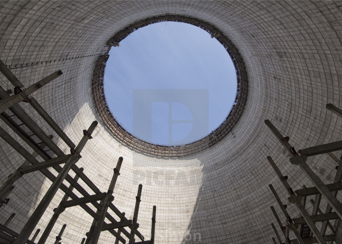 """Cooling tower, Chernobyl nuclear power plant, Ukraine"" stock image"