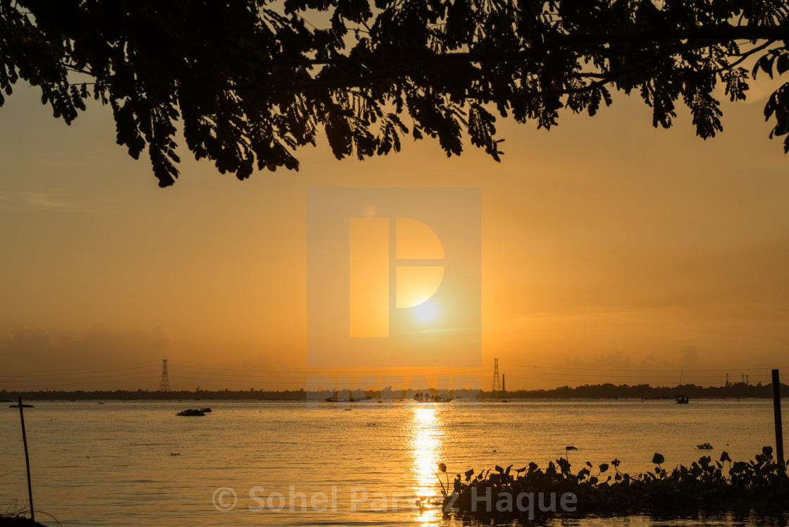 """""""Sunset at river"""" stock image"""