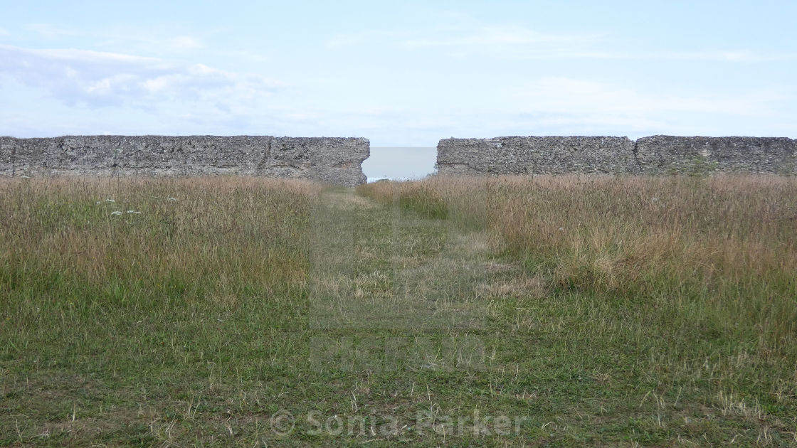"""Burgh Castle, Ancient Roman Ruins, Norfolk England 2"" stock image"