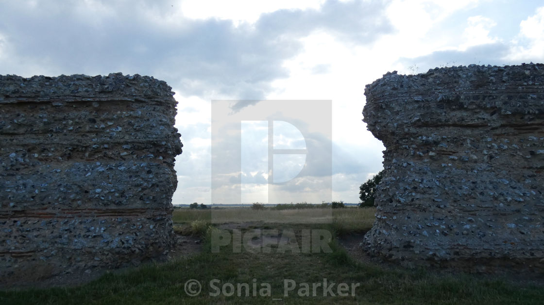 """Burgh Castle, Ancient Roman Ruins, Norfolk, Enlgland"" stock image"