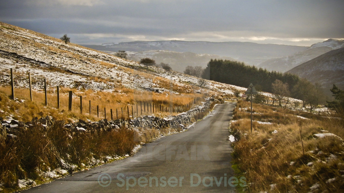 """""""Mountain Road in the snow"""" stock image"""