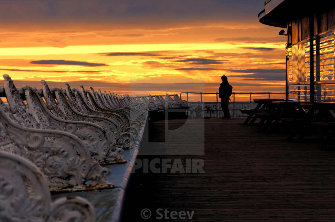 """Blackpool pier sunset"" stock image"