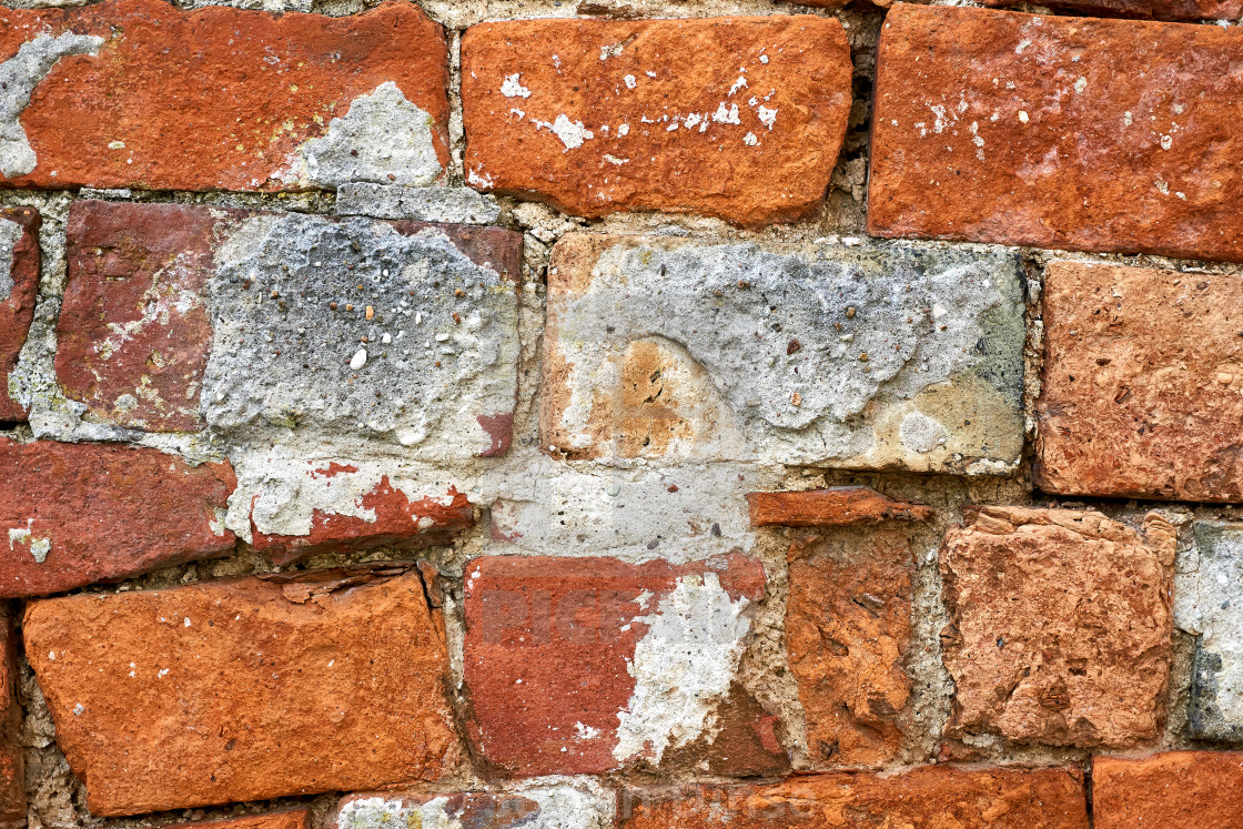 """""""old repaired wall with brick texture"""" stock image"""