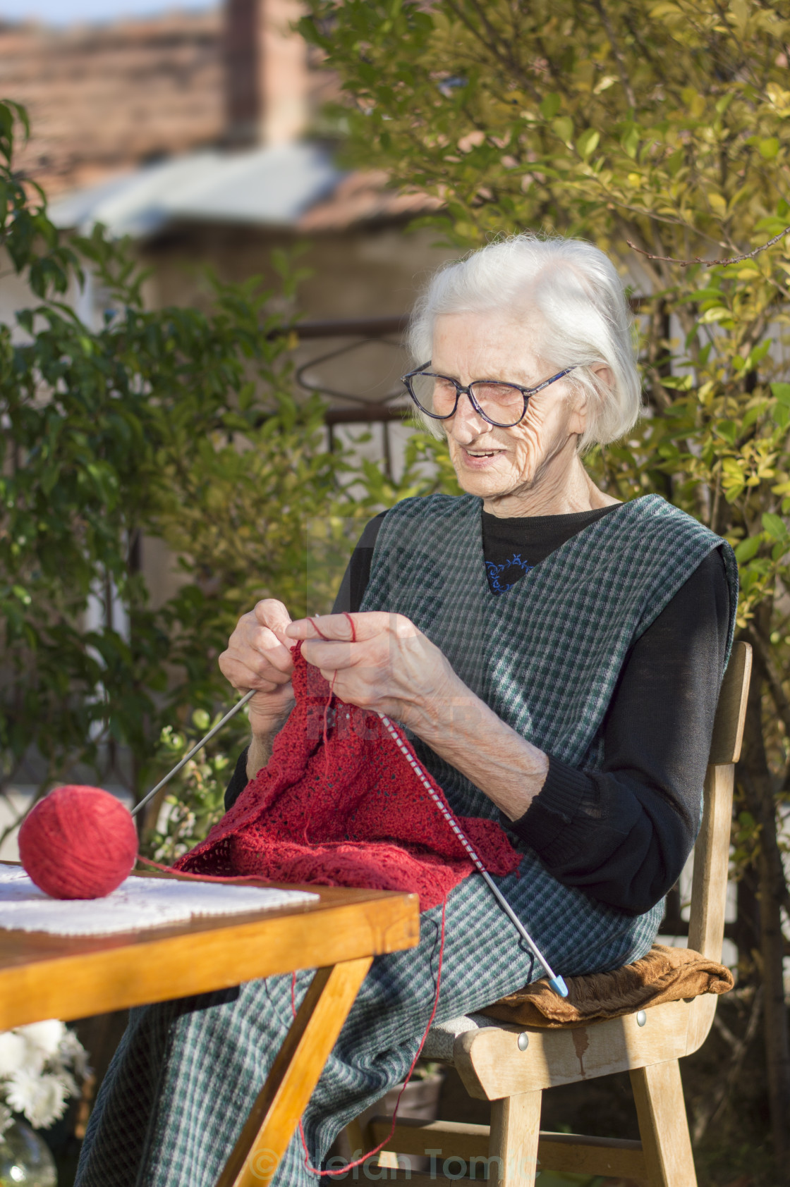 """""""90 years old woman knitting a red sweater"""" stock image"""
