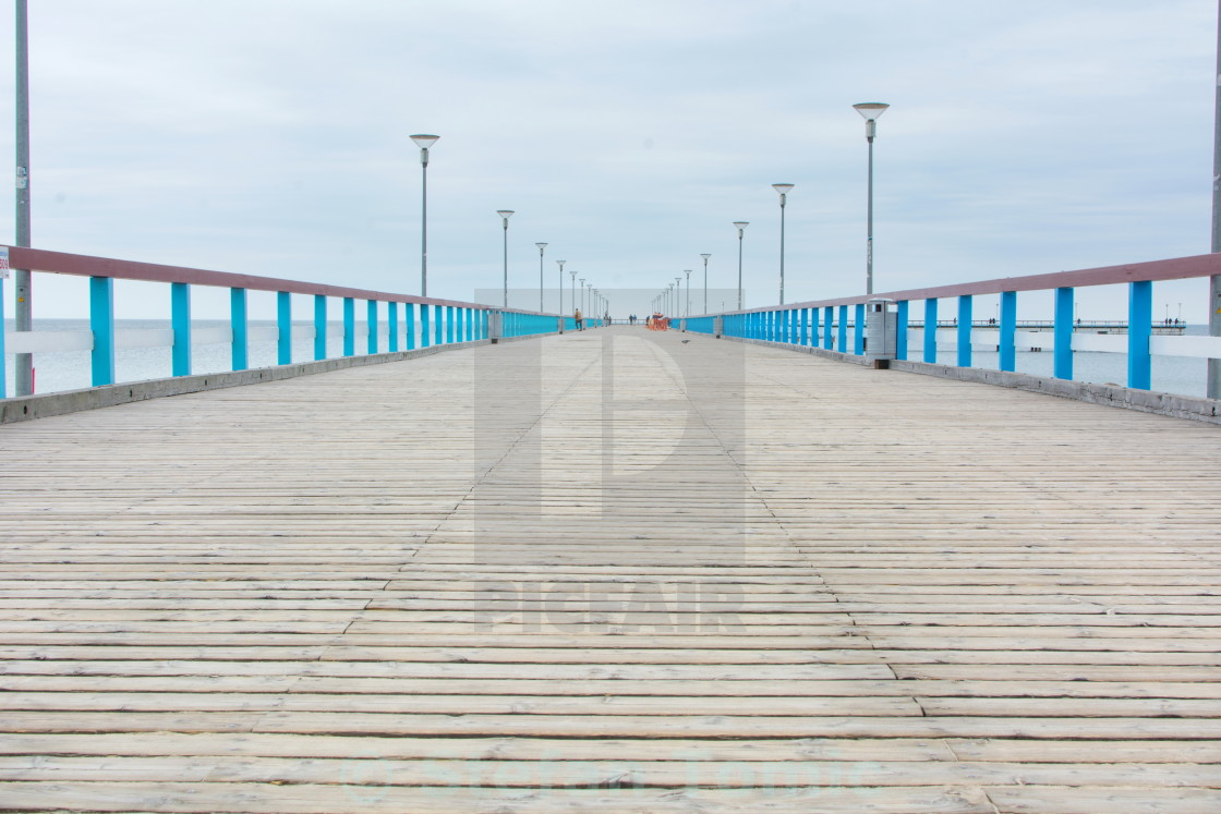 """PALANGA LITHUANIA - JUNE 13: View at the Palanga wooden dock"" stock image"