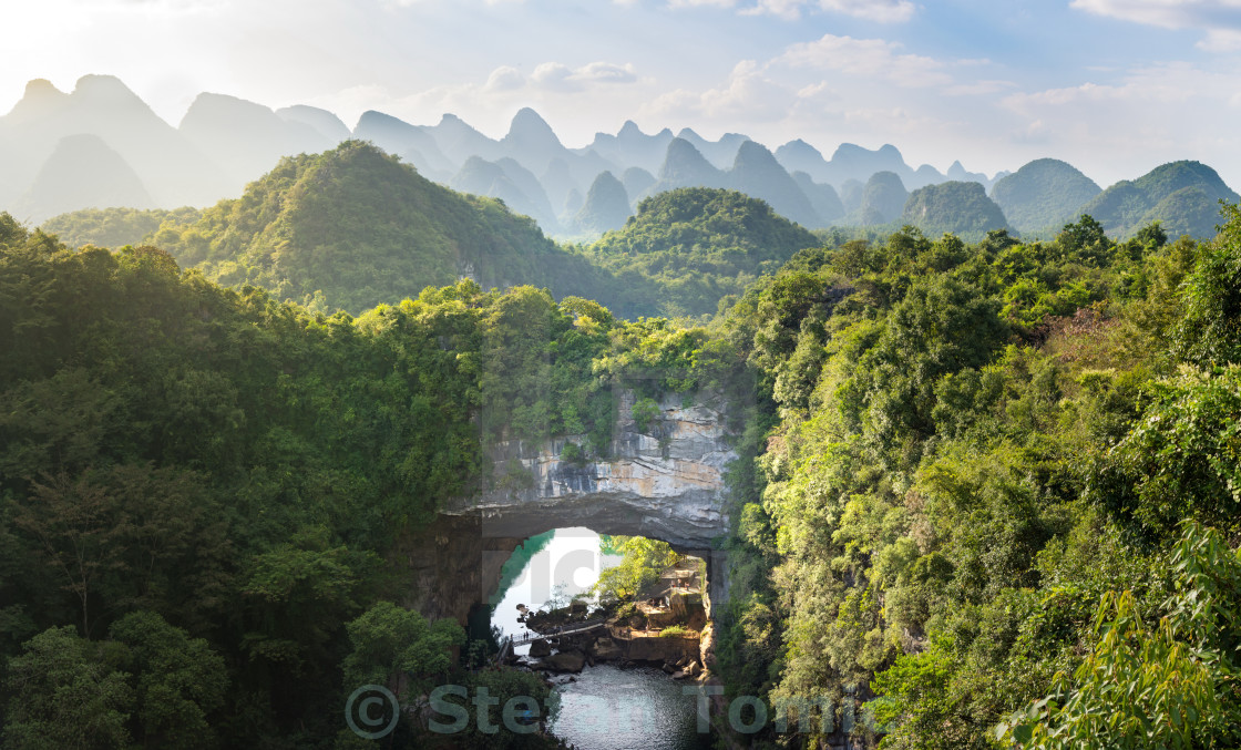 """Xiangqiao cave panoramic view, Guangxi, China"" stock image"