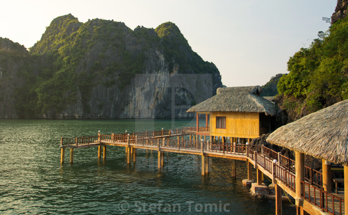 """Tropical paradise resort in Halong bay Vietnam"" stock image"