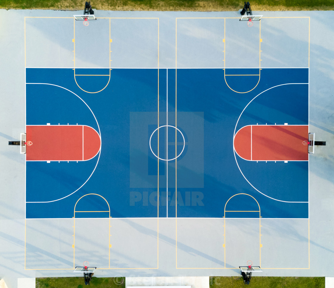 """""""Aerial view of a basketball court"""" stock image"""