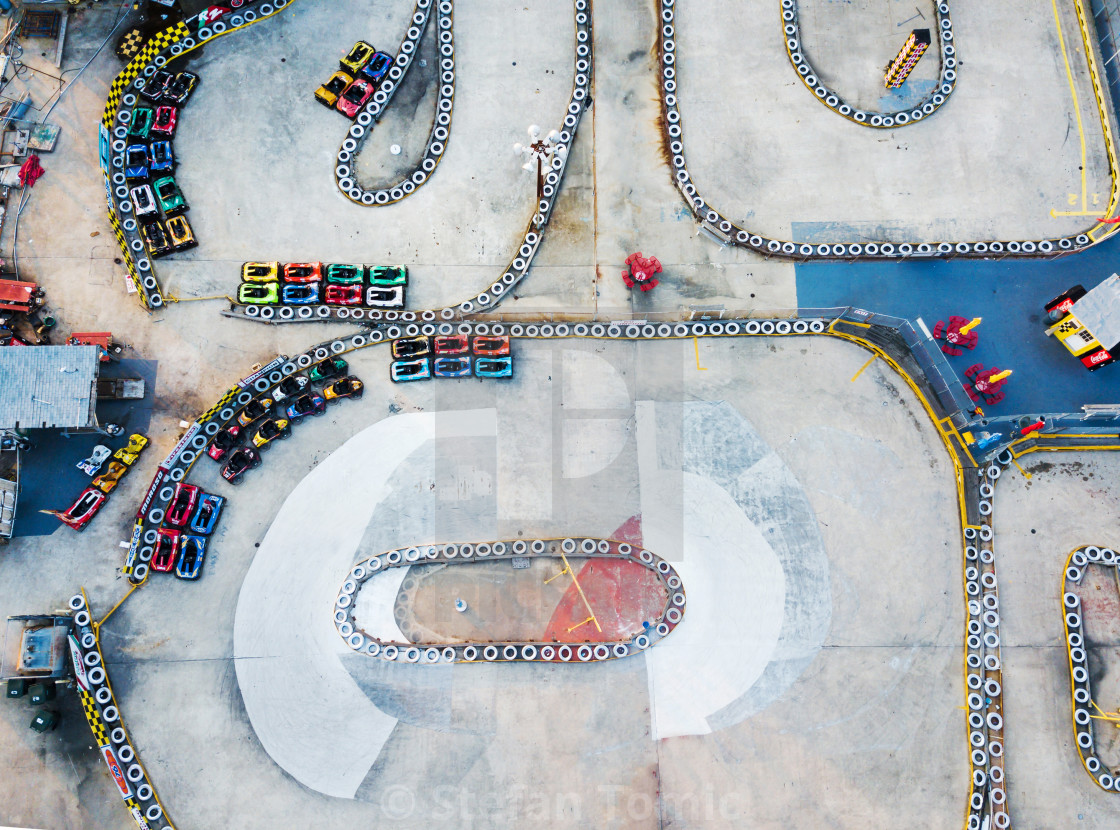 """Racing carts track aerial view"" stock image"