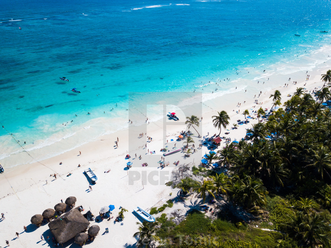 """Aerial view of Pescadores beach in Tulum Mexico"" stock image"