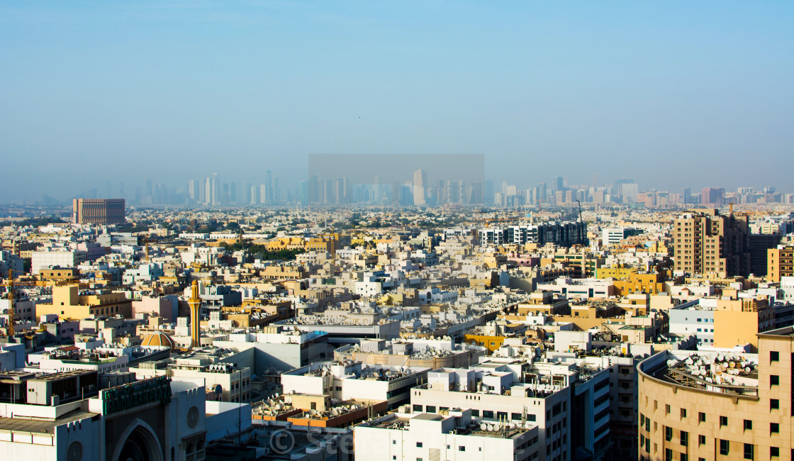 Panoramic view of Deira, old Dubai - License, download or