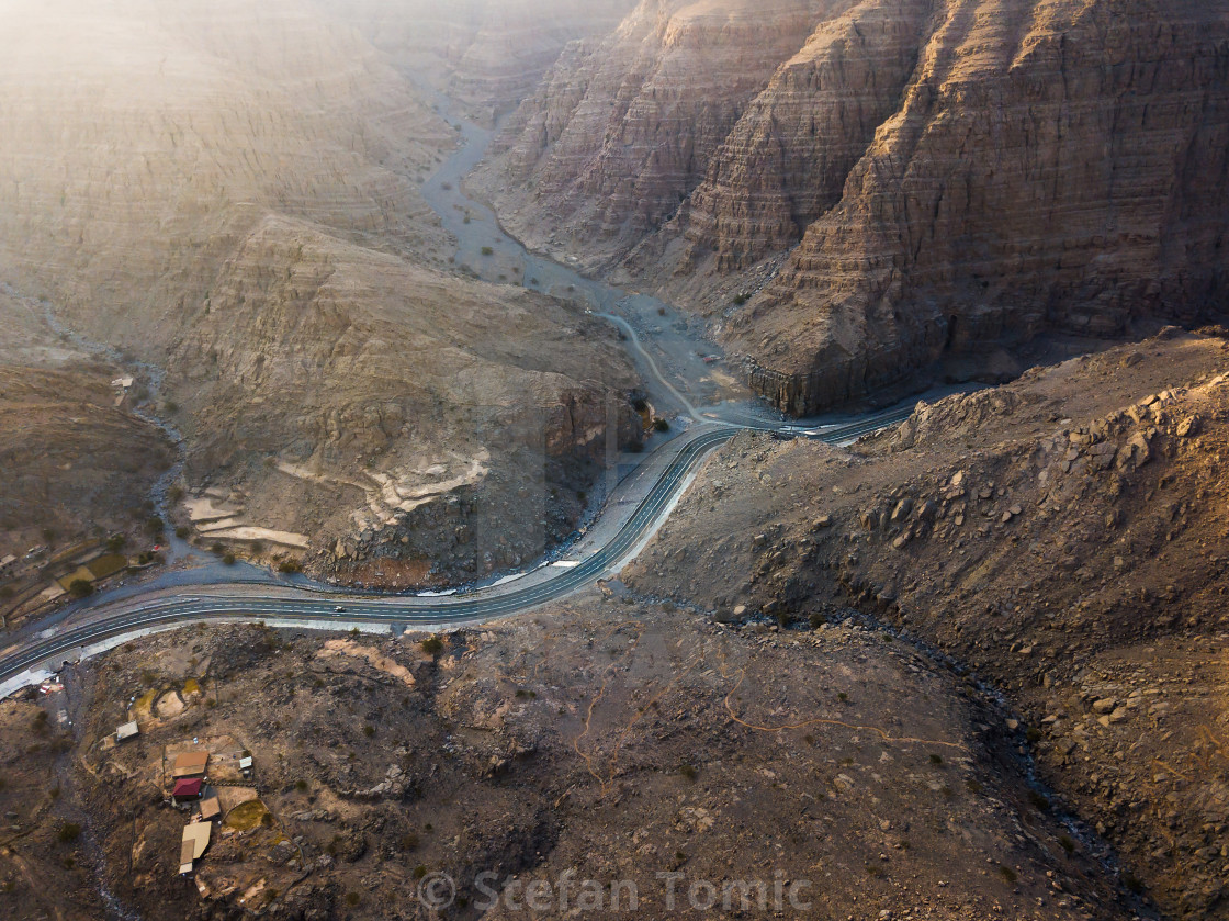 """""""Desert mountain road in the UAE aerial view"""" stock image"""