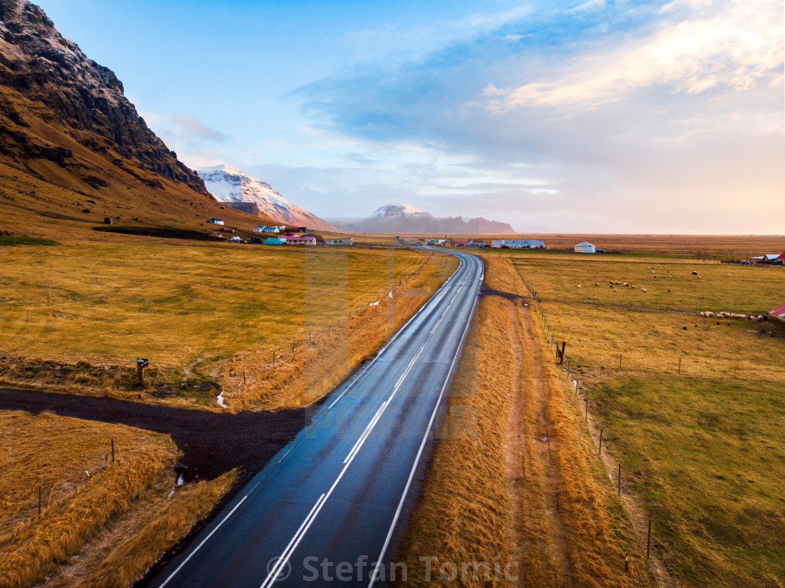 """""""Stunning scenery of Icelandic road in Iceland"""" stock image"""