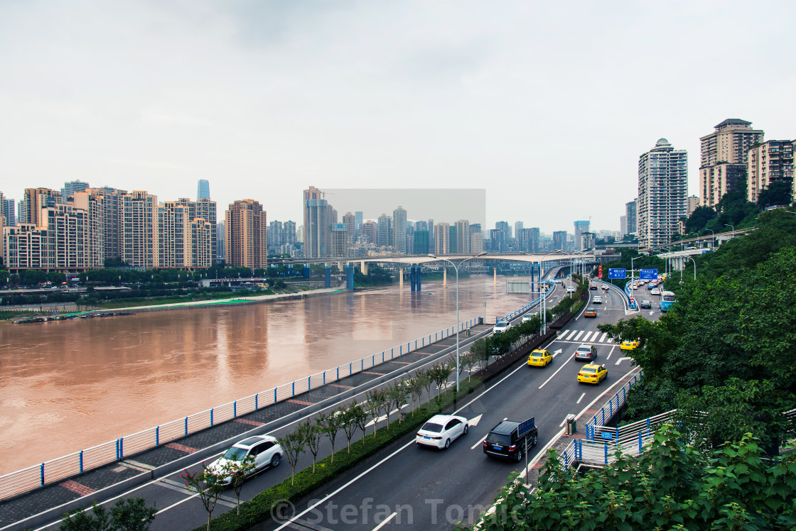 """Multilayer roads and traffic by the Yangtze river in Chongqing, China"" stock image"