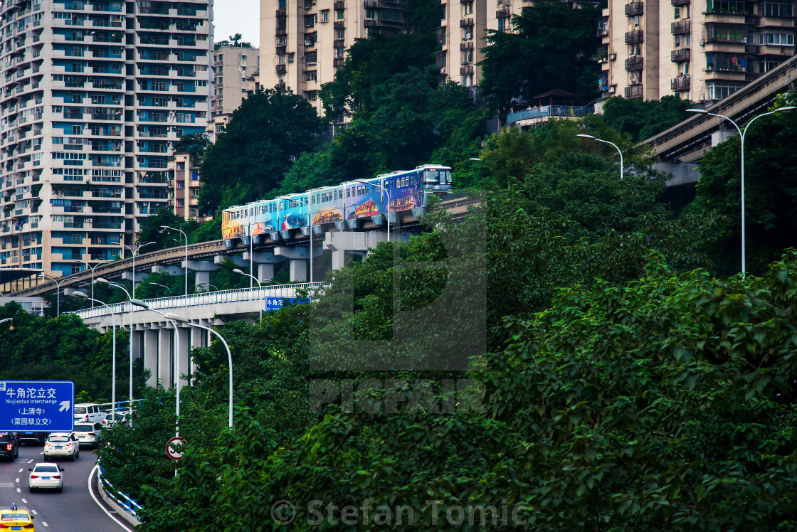 """""""Multilayer roads and traffic by the Yangtze river in Chongqing, China"""" stock image"""