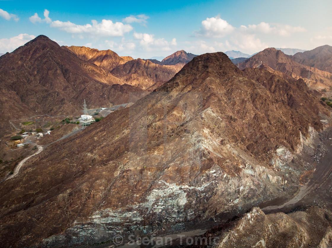 """Scenic Hajar mountain range stretching through UAE and Oman"" stock image"