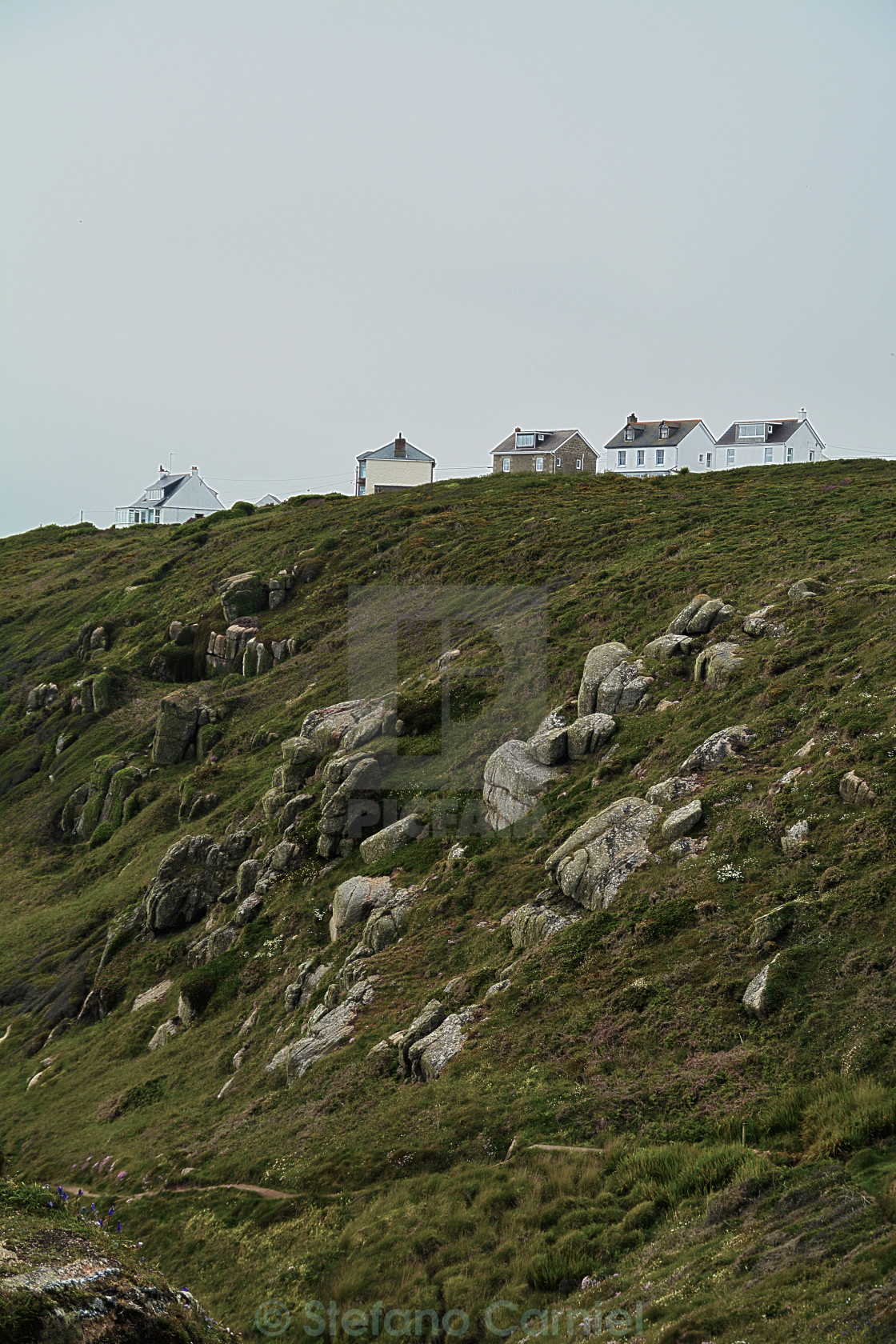"""Cornwall coast houses"" stock image"