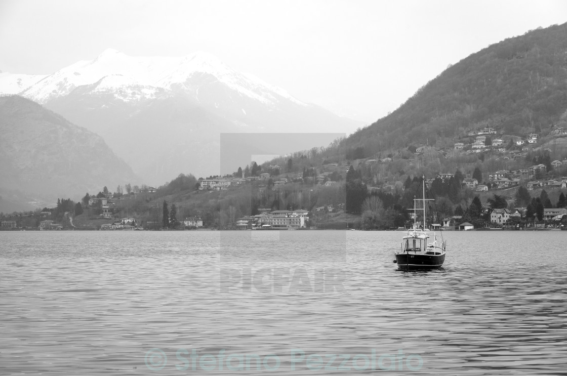 """Lake Orta, winter panorama. Black and white photo"" stock image"
