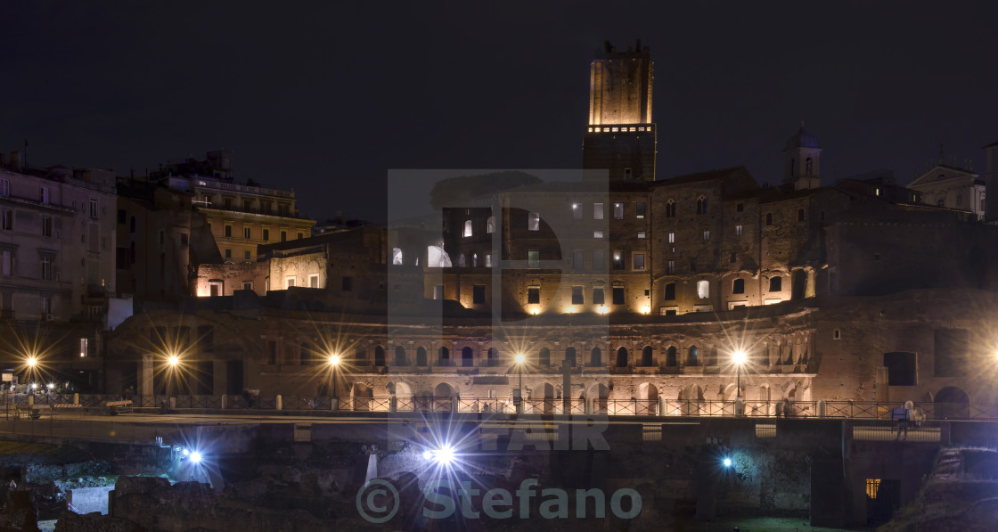"""Trajan's Forum in Rome by night"" stock image"