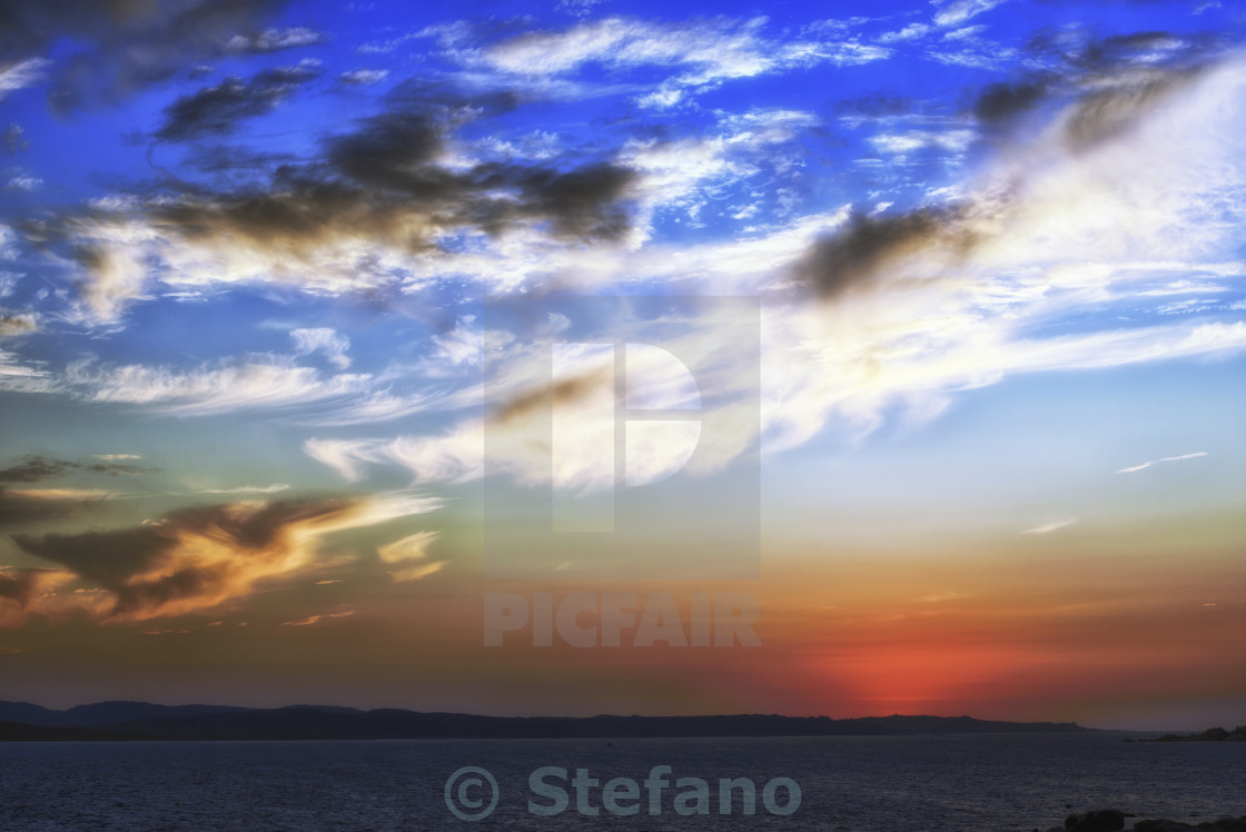 """Blue Sky, Clouds and sunset"" stock image"