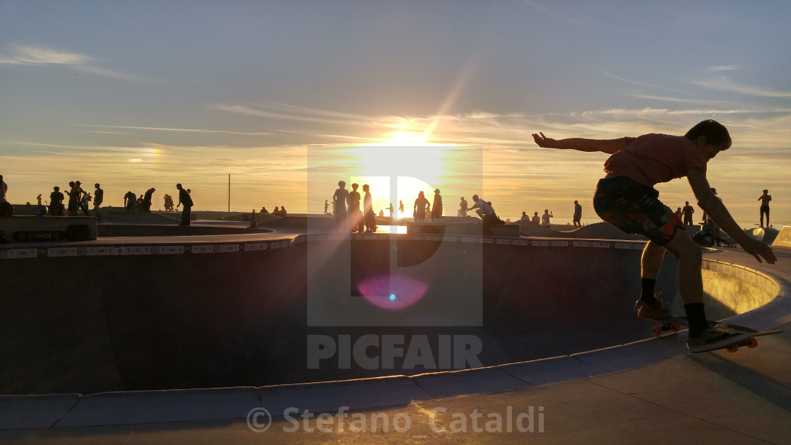 """Skaters on Venice beach"" stock image"
