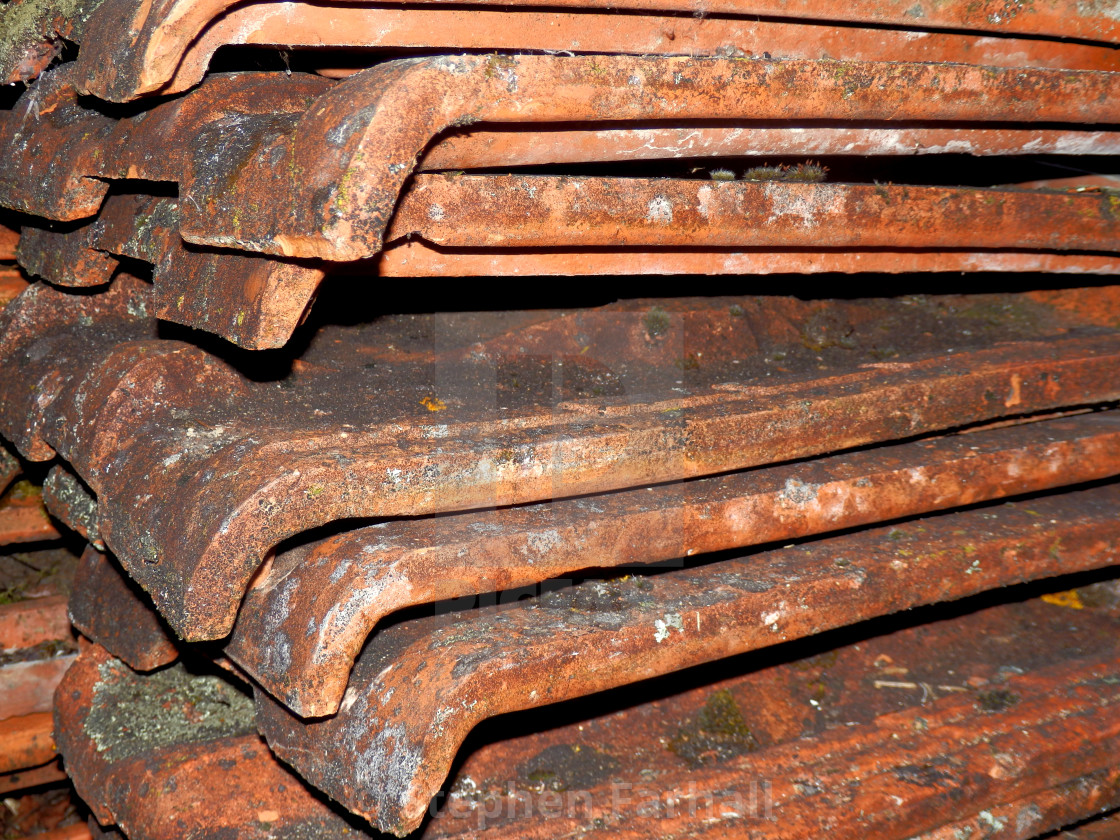 Old Terracotta Roof Tiles - License, download or print for