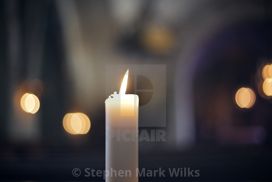 """Church Candle with Bokeh"" stock image"