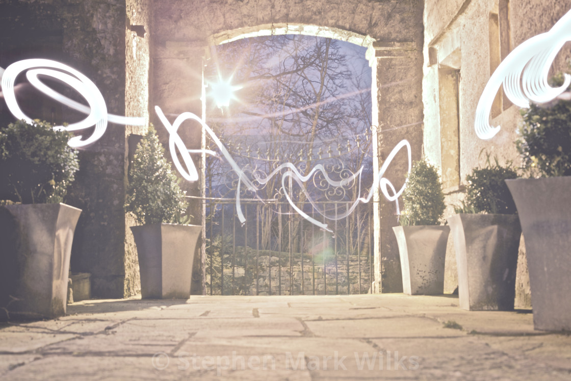 """Gate Light Writing"" stock image"