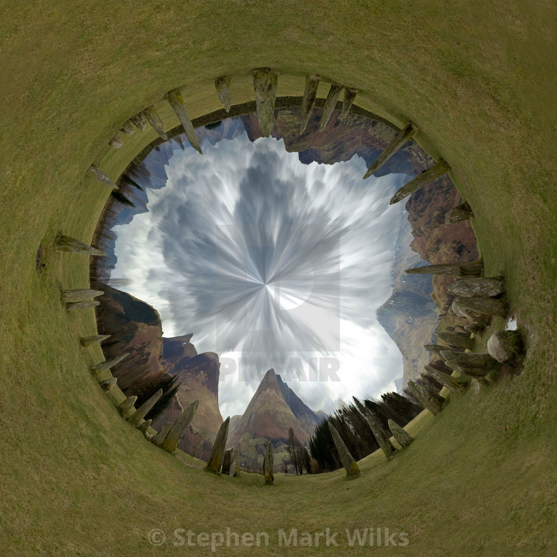 """Castlerigg Little Planet Two"" stock image"