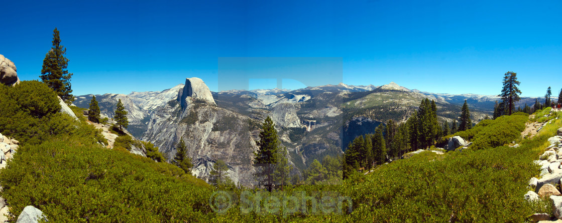 """""""Panoramic of Half Dome on a cloudless day"""" stock image"""
