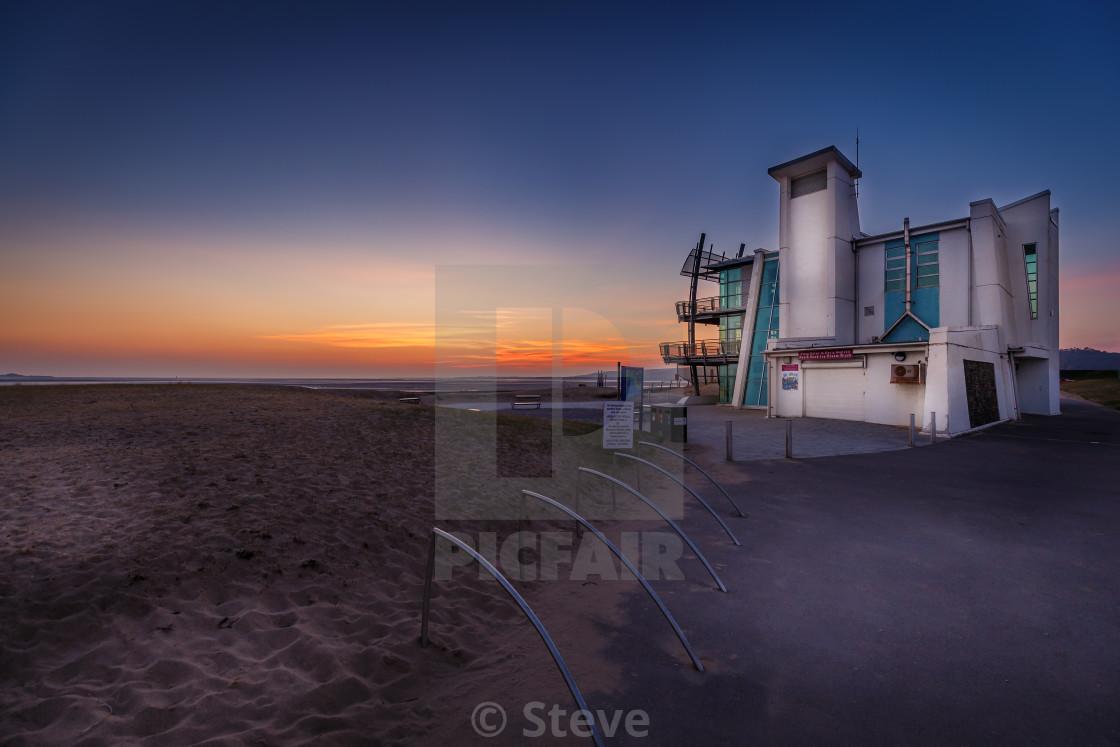 """Llanelli beach front"" stock image"