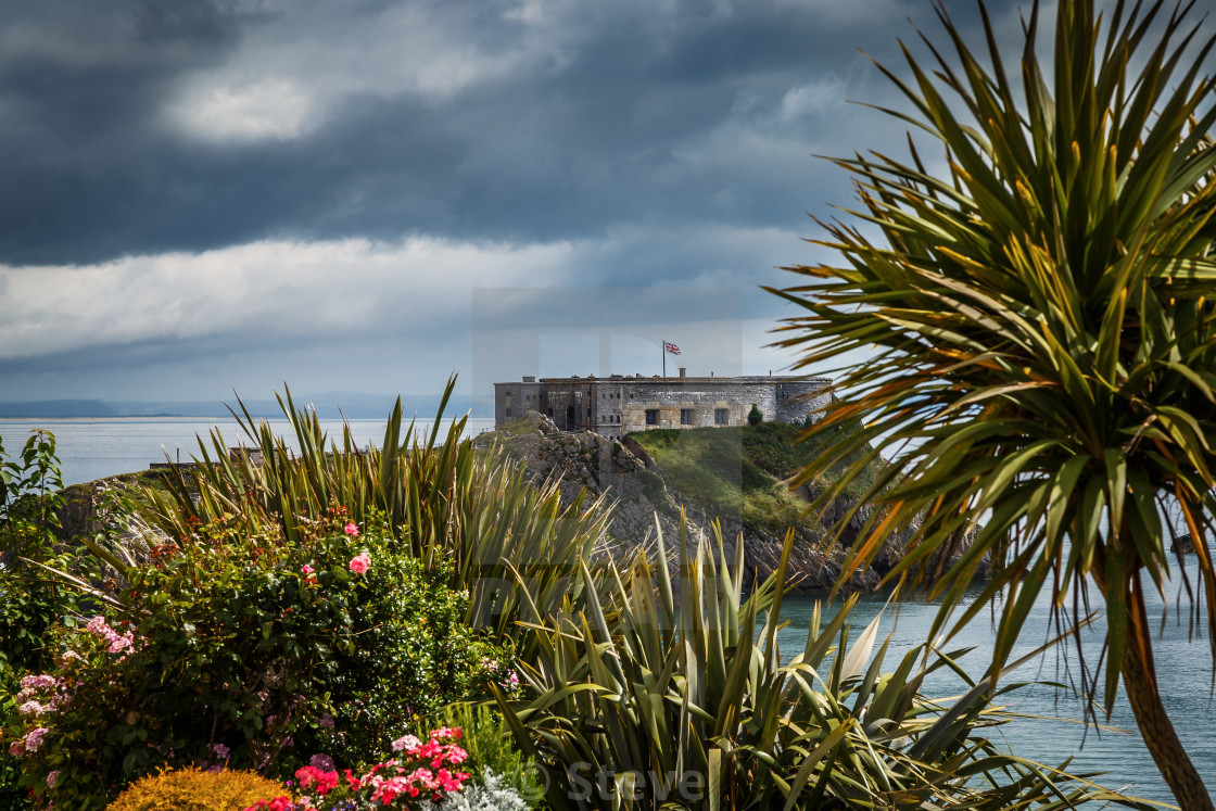 """Tropical Tenby"" stock image"