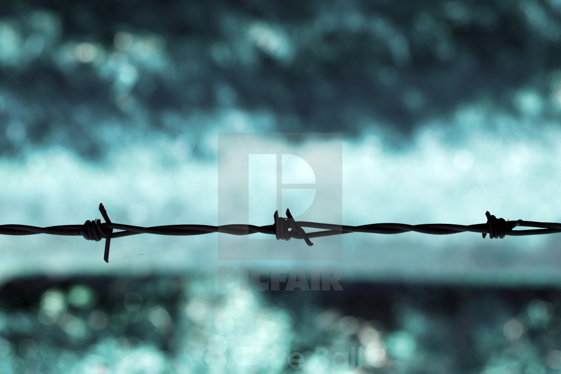 """Barbed wire against a blue background"" stock image"