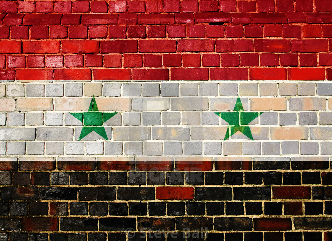 """Syria flag on a brick wall"" stock image"