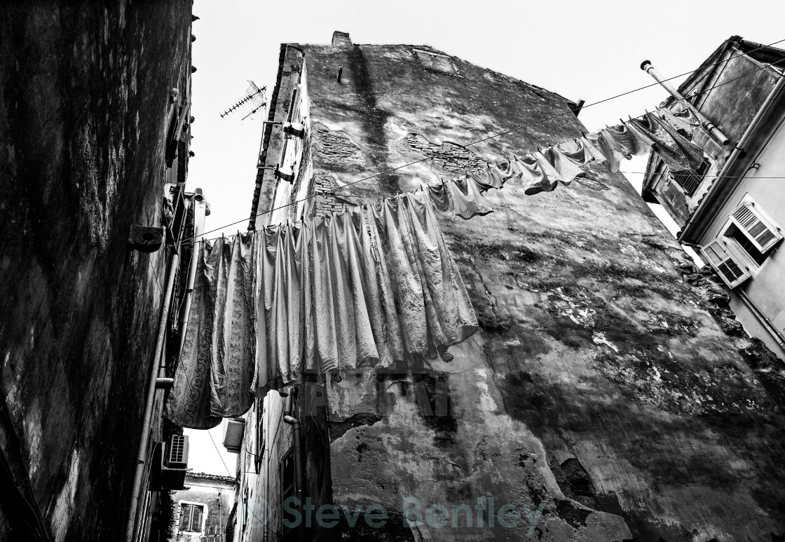 """Washday in Corfu Town (b)."" stock image"