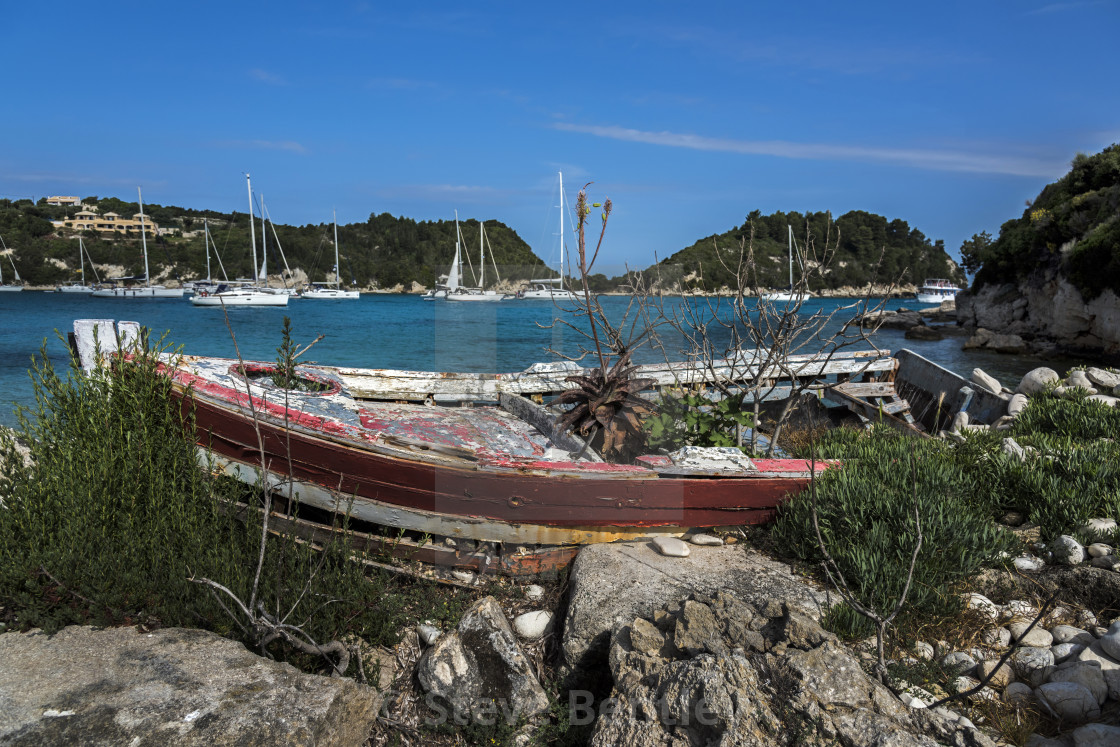 Old Rowing Boat in Lakka Bay, Paxos  - License, download or