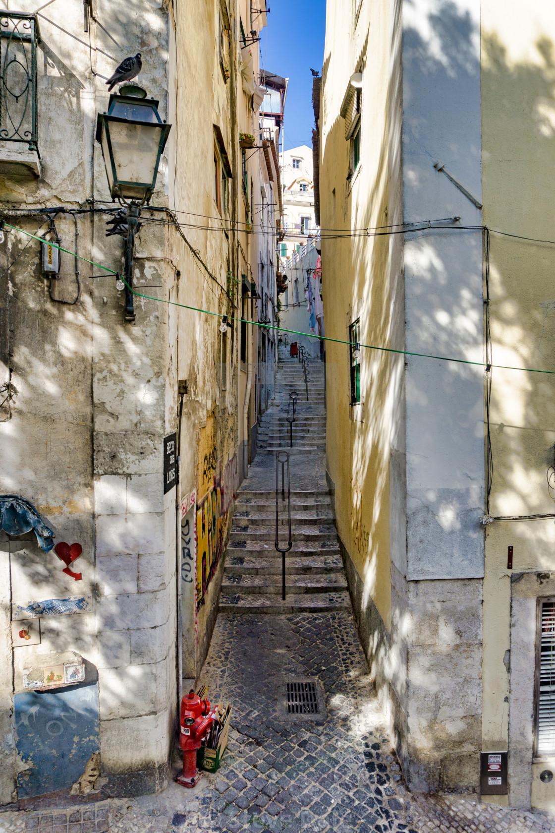 """Steep steps, Lisbon street scene"" stock image"