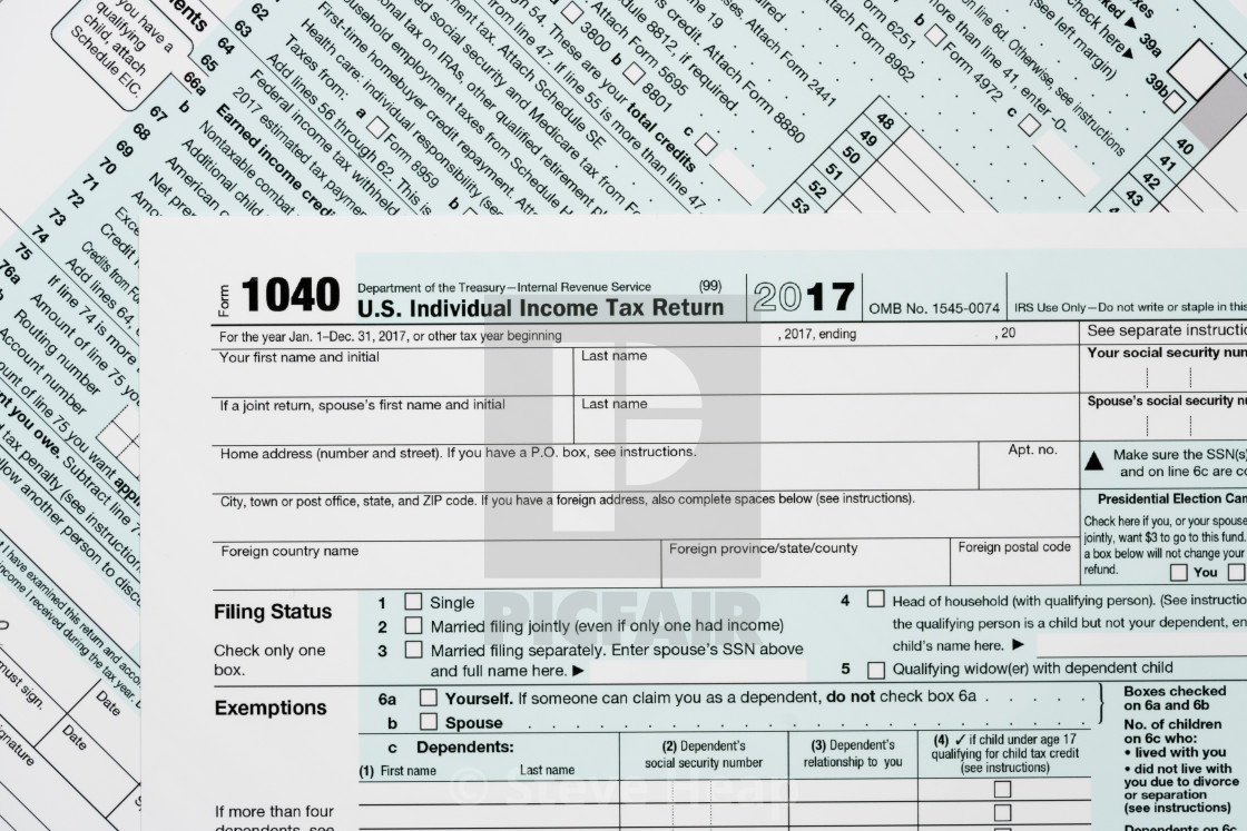 Macro close up of 2017 IRS form 1040 - License, download or print