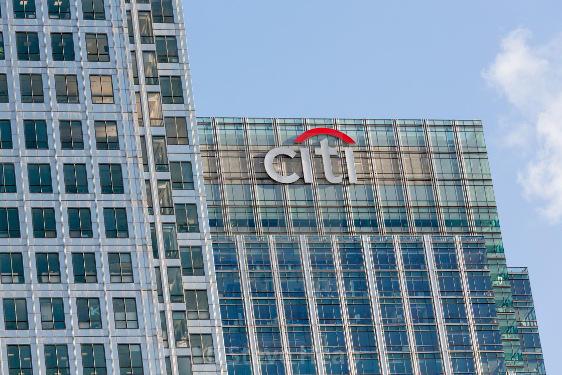 Logo or sign for Citi or Citibank in Canary Wharf - License