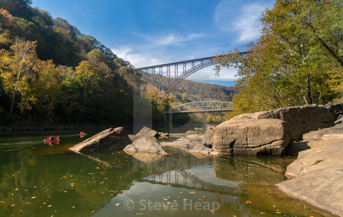 """""""Kayakers at the New River Gorge Bridge in West Virginia"""" stock image"""