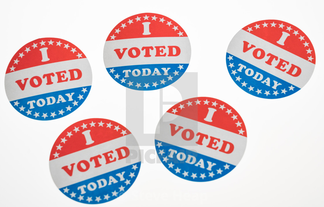 picture regarding I Voted Stickers Printable named I Voted Currently paper stickers upon white history - License