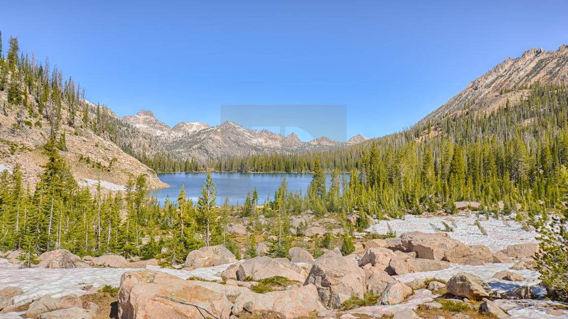 """Upper Cramer Lake, Sawtooth National Recreation Area, ID"" stock image"