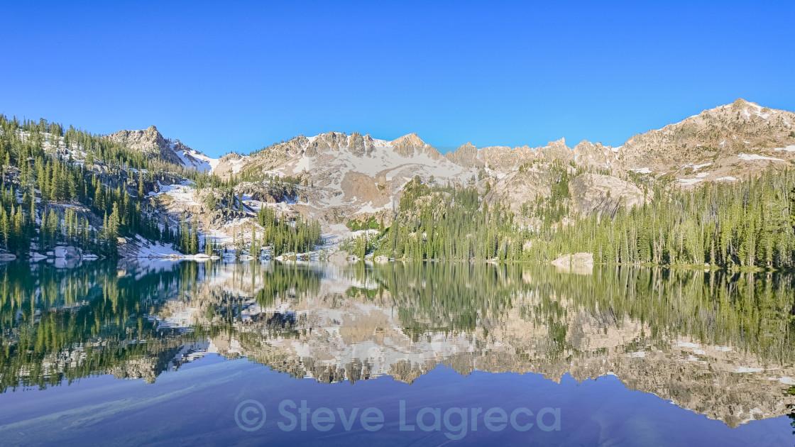 """Alpine Lake Reflection, Sawtooth National Recreation Area, ID"" stock image"
