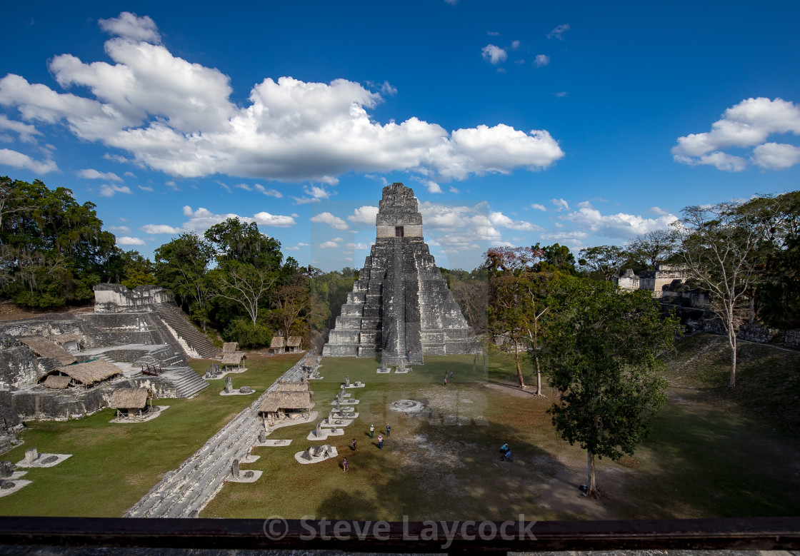 """Tikal, Mayan ruins rising out from the Guatemala rainforest."" stock image"