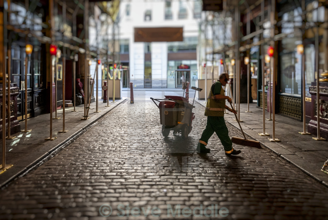 """Road Sweeper, Leadenhall Market"" stock image"