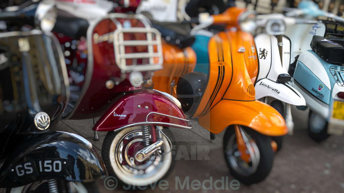 Vintage Vespa and Lambretta Scooters  - License, download or print