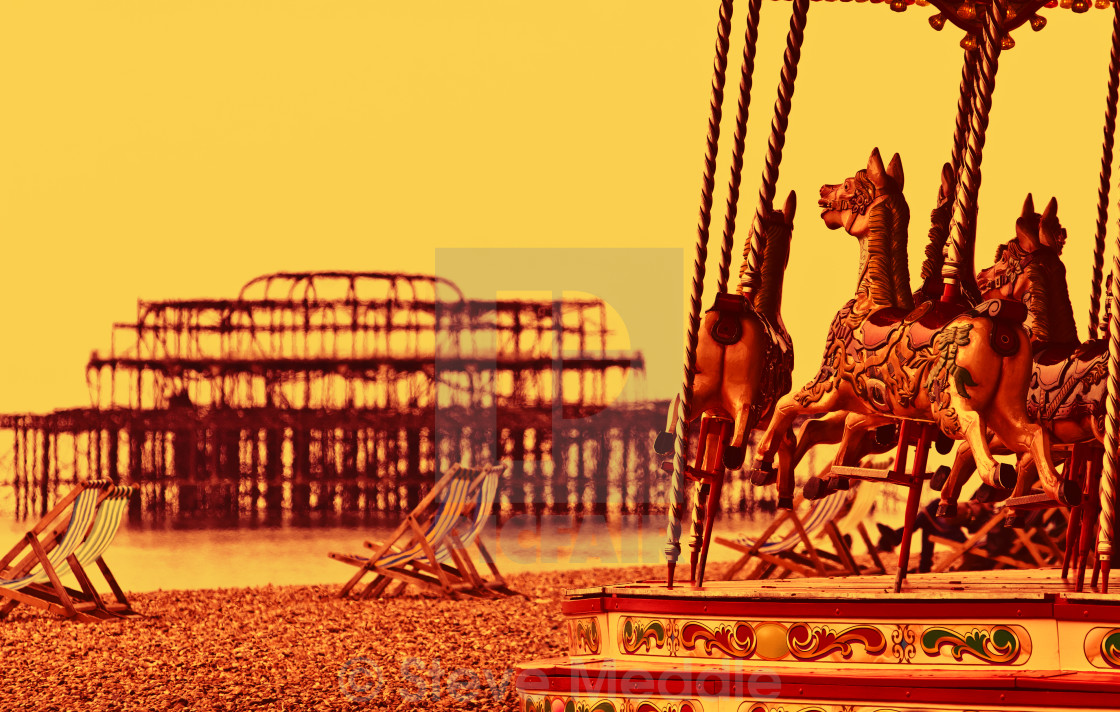 """Carousel on Brighton Beach, Brighton, East Sussex, Britain"" stock image"