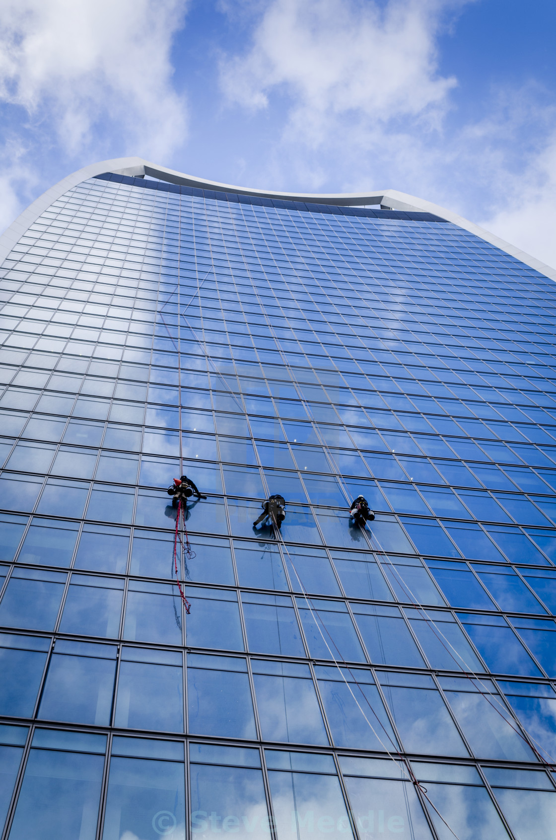 """Window Cleaners Abseiling Dow The Walkie Talkie Building"" stock image"