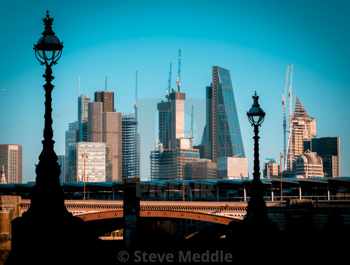 """Sunrise view over London City's Financial District"" stock image"